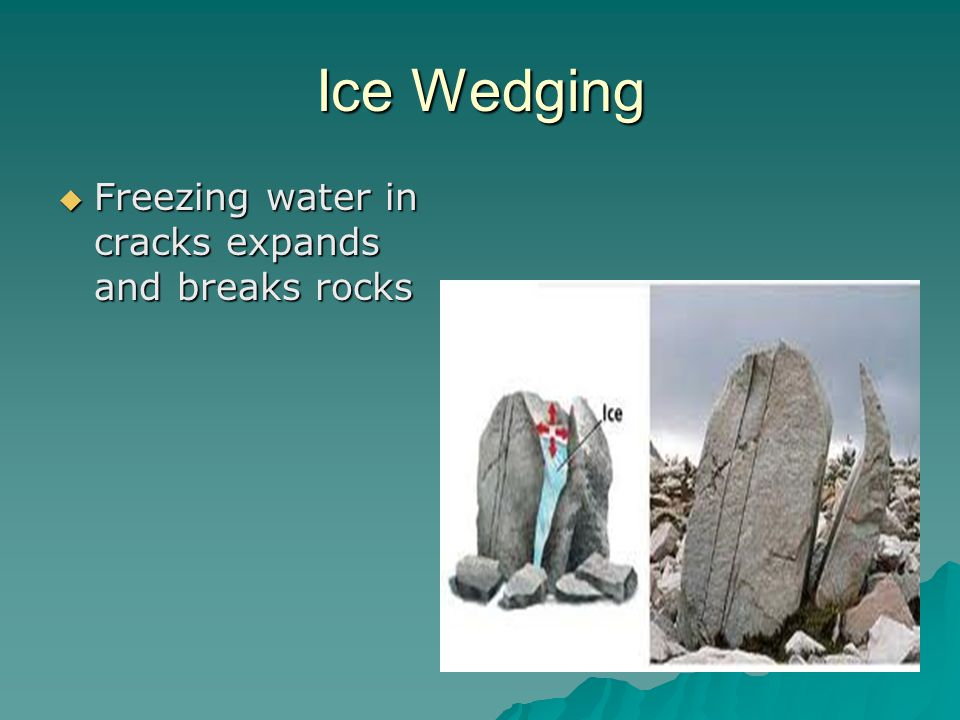 Ice Wedging  Freezing water in cracks expands and breaks rocks