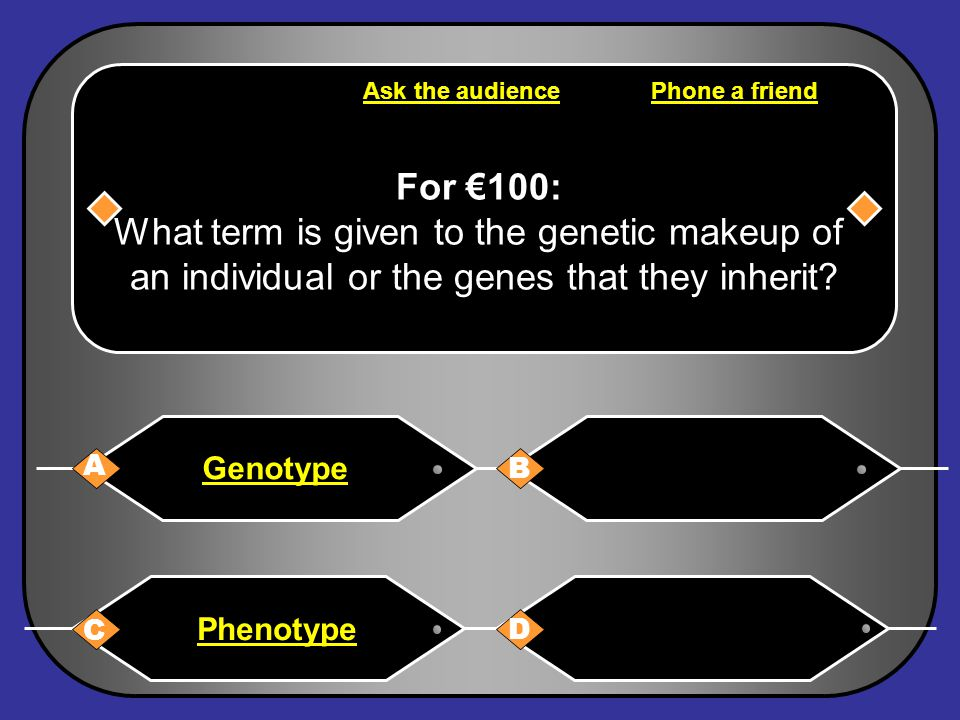 A: Genotype You have won €100 Next Question