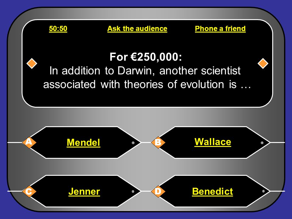 Phone a friend Hello, it's Chris Tarrant on Who wants to be a millionaire, this question is for €125,000. I think it is C or D. I'm nor sure which. Ta