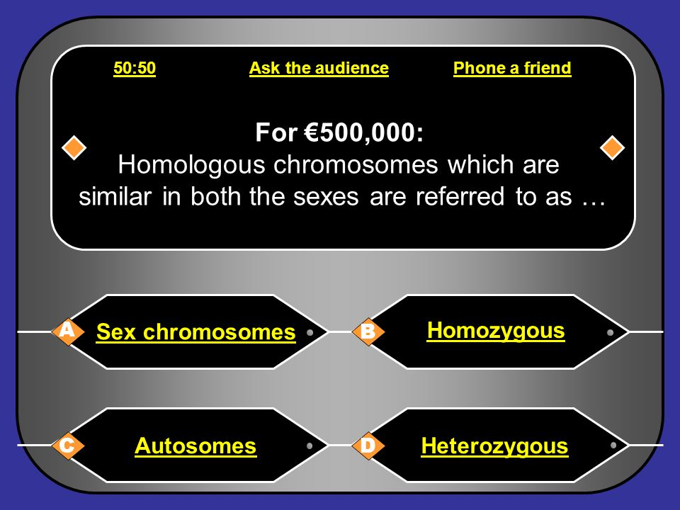 Phone a friend Hello, it's Chris Tarrant on Who wants to be a millionaire, this question is for €250,000. It's either A or B, I'm 100% certain of that