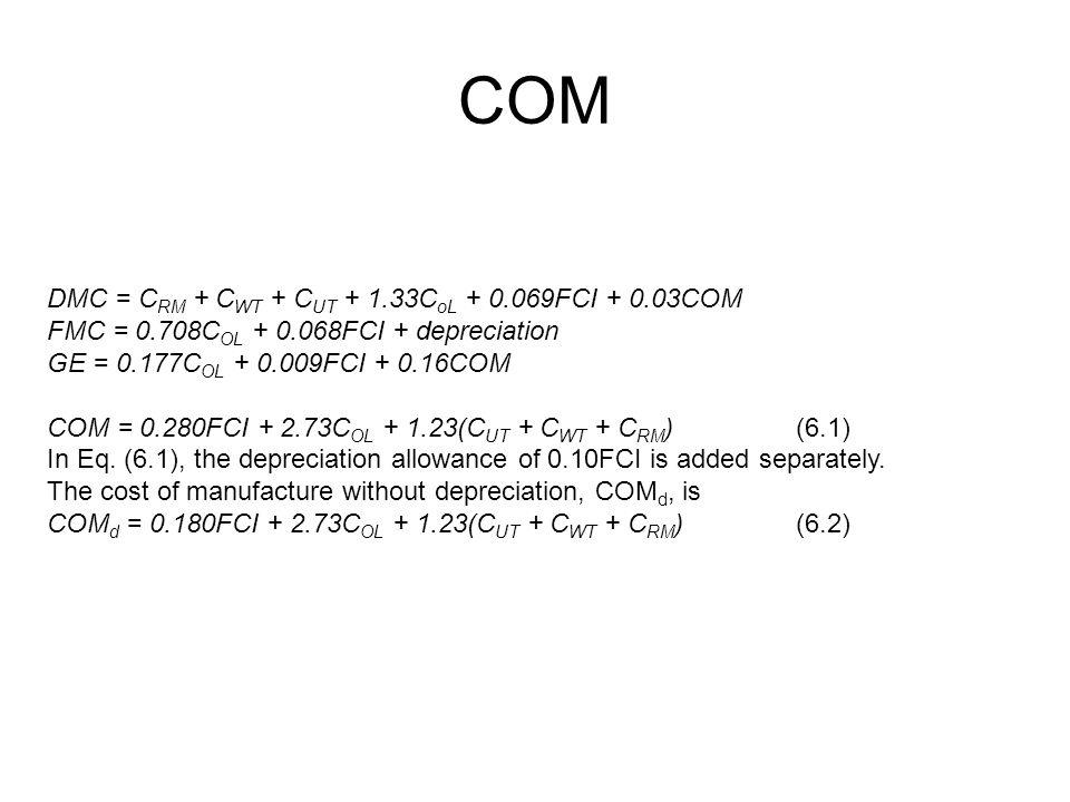 COM DMC = C RM + C WT + C UT + 1.33C oL + 0.069FCI + 0.03COM FMC = 0.708C OL + 0.068FCI + depreciation GE = 0.177C OL + 0.009FCI + 0.16COM COM = 0.280