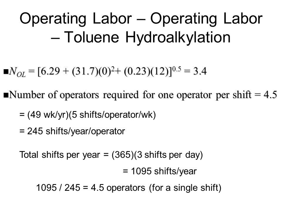 Operating Labor – Operating Labor – Toluene Hydroalkylation N OL = [6.29 + (31.7)(0) 2 + (0.23)(12)] 0.5 = 3.4 N OL = [6.29 + (31.7)(0) 2 + (0.23)(12)