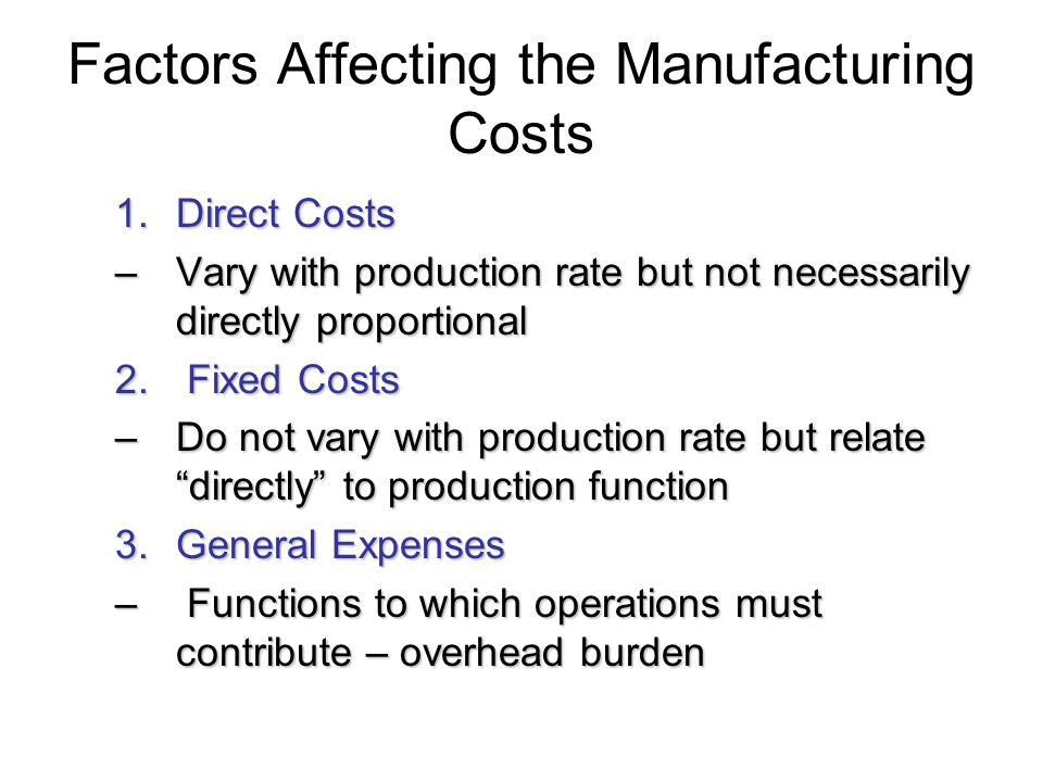 Factors Affecting the Manufacturing Costs 1.Direct Costs –Vary with production rate but not necessarily directly proportional 2. Fixed Costs –Do not v
