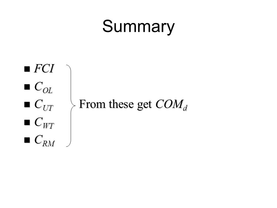 Summary FCI FCI C OL C OL C UT From these get COM d C UT From these get COM d C WT C WT C RM C RM
