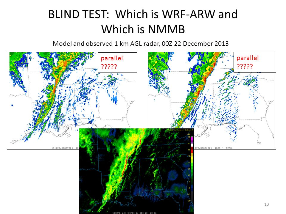 13 Model and observed 1 km AGL radar, 00Z 22 December 2013 BLIND TEST: Which is WRF-ARW and Which is NMMB parallel .
