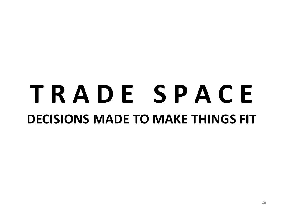 T R A D E S P A C E DECISIONS MADE TO MAKE THINGS FIT 28