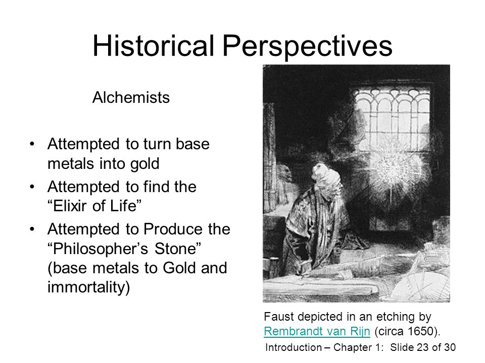 Introduction – Chapter 1: Slide 22 of 30 Historical Perspective Ancient Greeks and the 4 basic elements: Air, Fire, Water & Earth.