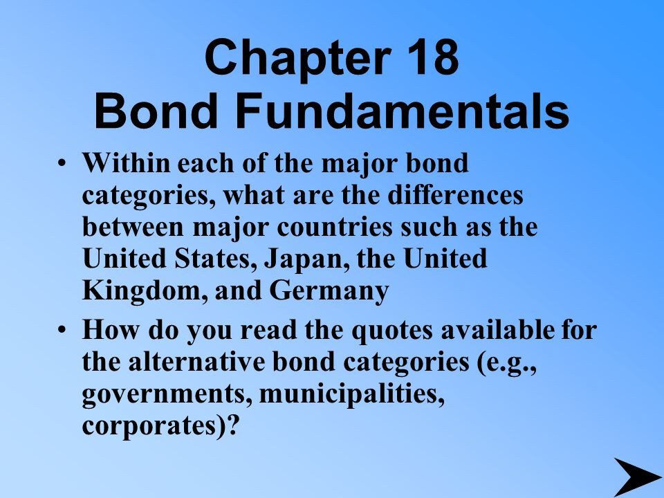 Chapter 18 Bond Fundamentals Within each of the major bond categories, what are the differences between major countries such as the United States, Japan, the United Kingdom, and Germany How do you read the quotes available for the alternative bond categories (e.g., governments, municipalities, corporates)