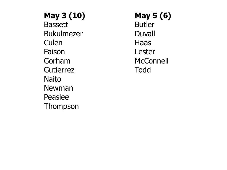 May 3 (10)May 5 (6) BassettButler BukulmezerDuvall CulenHaas Faison Lester Gorham McConnell GutierrezTodd Naito Newman Peaslee Thompson