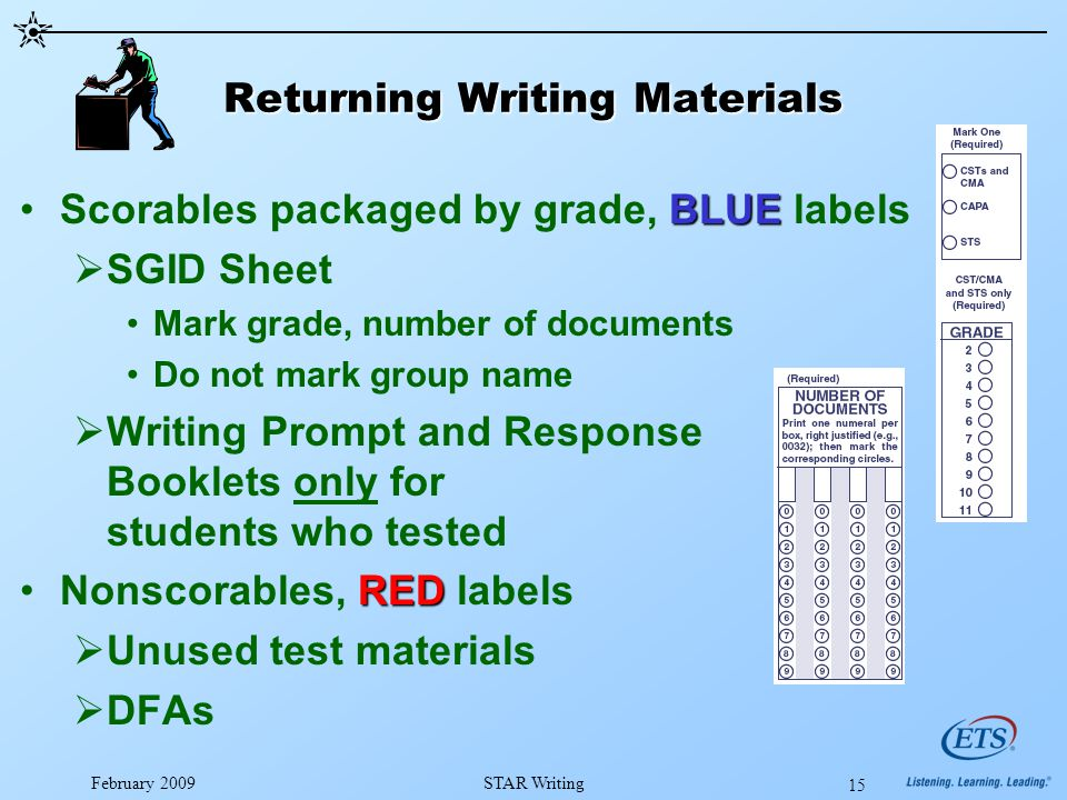 February 2009STAR Writing 15 Returning Writing Materials BLUEScorables packaged by grade, BLUE labels  SGID Sheet Mark grade, number of documents Do not mark group name  Writing Prompt and Response Booklets only for students who tested REDNonscorables, RED labels  Unused test materials  DFAs