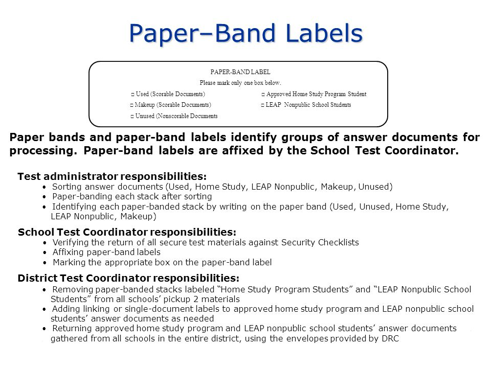 Paper bands and paper-band labels identify groups of answer documents for processing. Paper-band labels are affixed by the School Test Coordinator. Pa