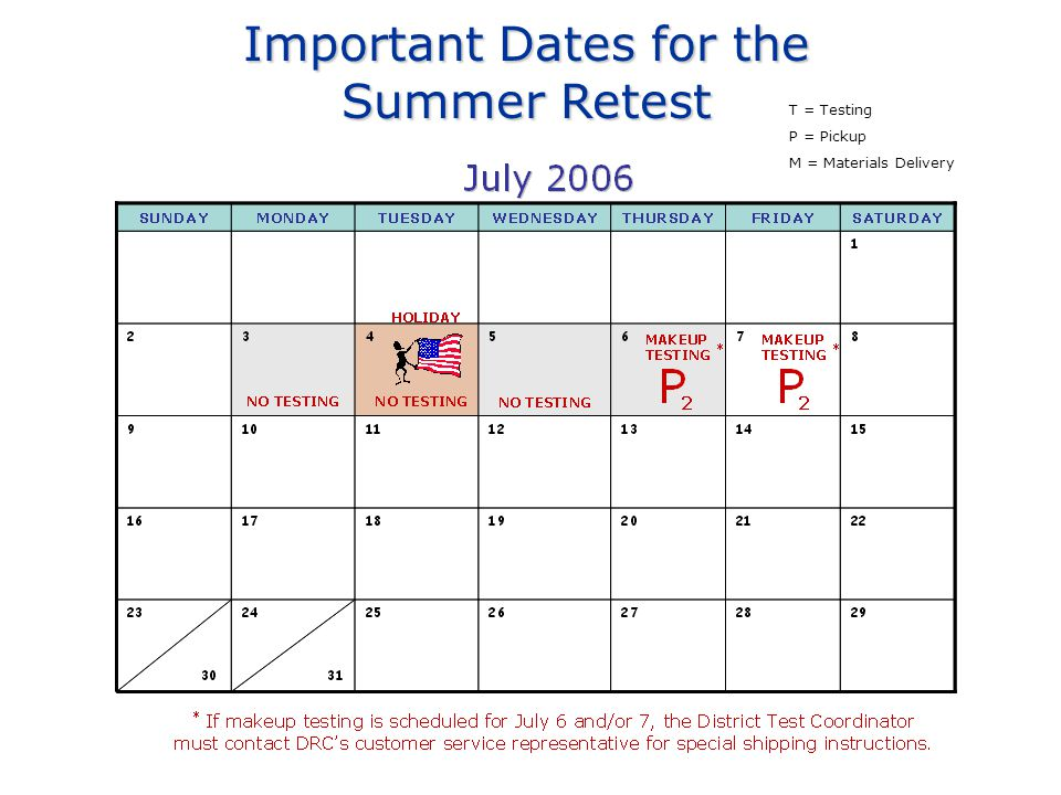 Important Dates for the Summer Retest T = Testing P = Pickup M = Materials Delivery