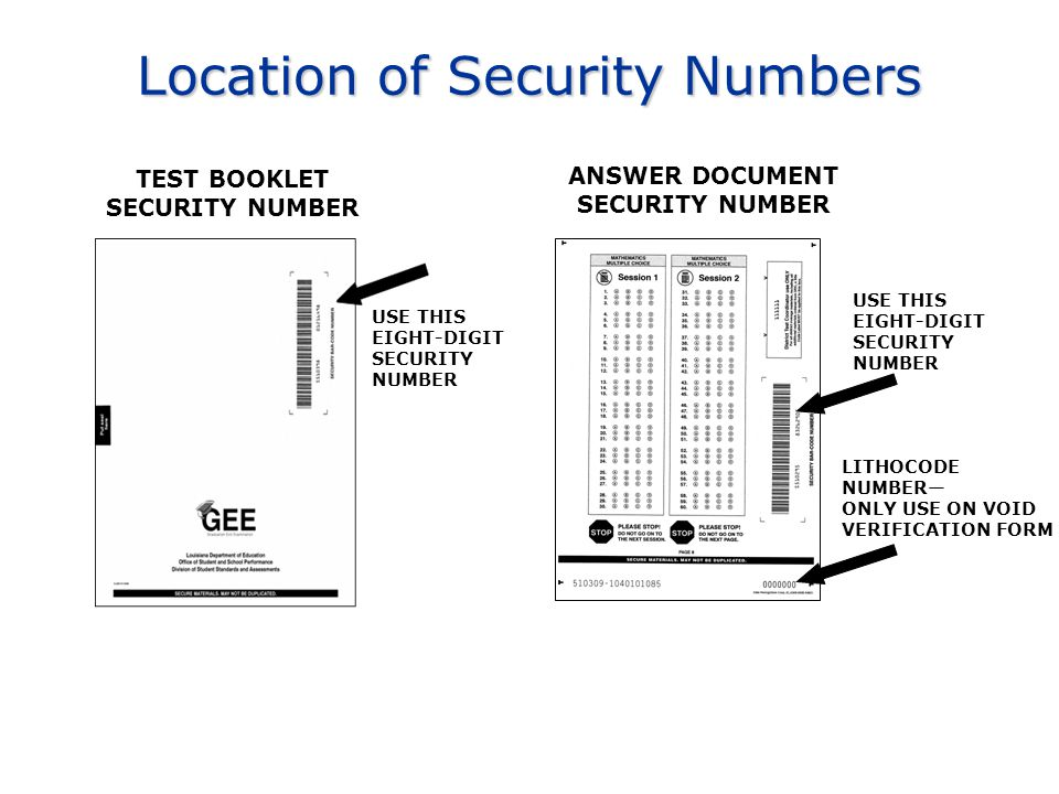 Location of Security Numbers TEST BOOKLET SECURITY NUMBER ANSWER DOCUMENT SECURITY NUMBER USE THIS EIGHT-DIGIT SECURITY NUMBER LITHOCODE NUMBER— ONLY