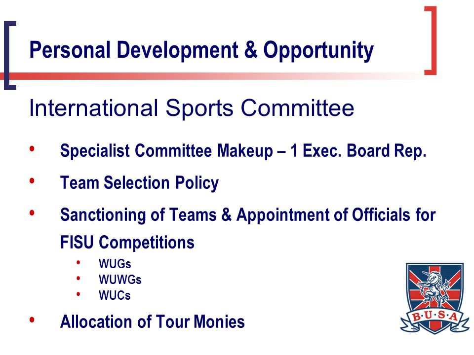 Specialist Committee Makeup – 1 Exec. Board Rep.