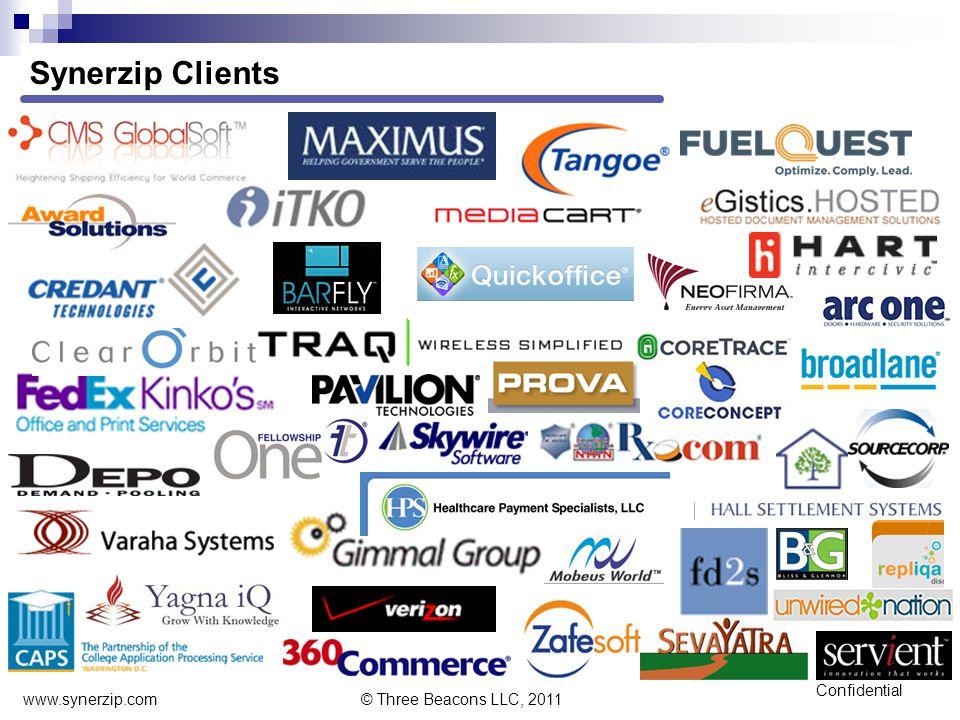 Confidential Synerzip Clients www.synerzip.com © Three Beacons LLC, 2011