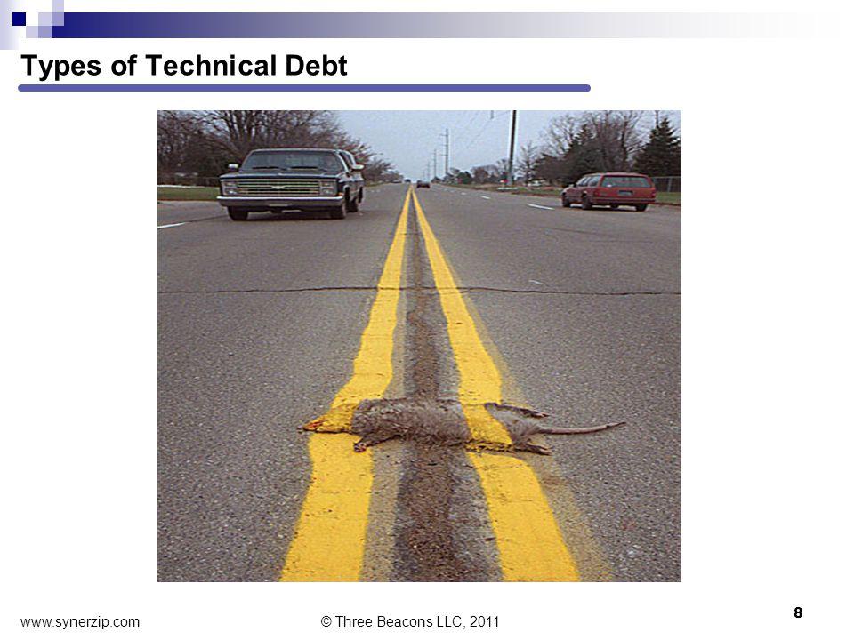 Types of Technical Debt 8 © Three Beacons LLC, 2011 www.synerzip.com