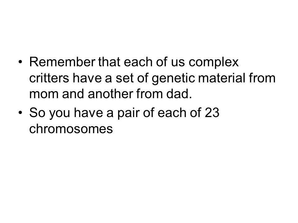 So you have a pair of each of 23 chromosomes