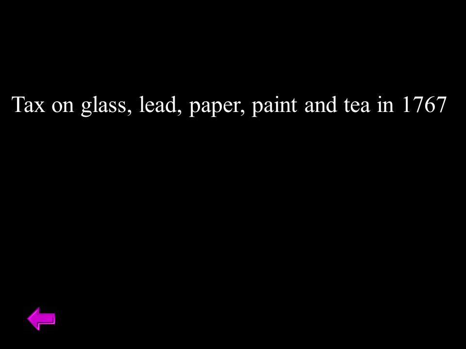 Tax on glass, lead, paper, paint and tea in 1767