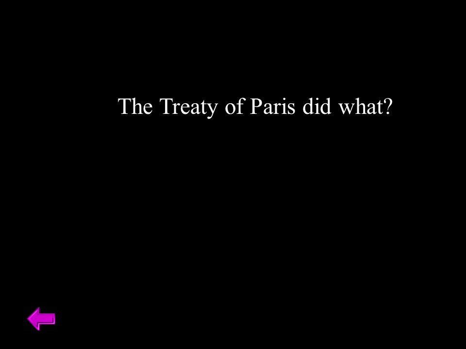 The Treaty of Paris did what