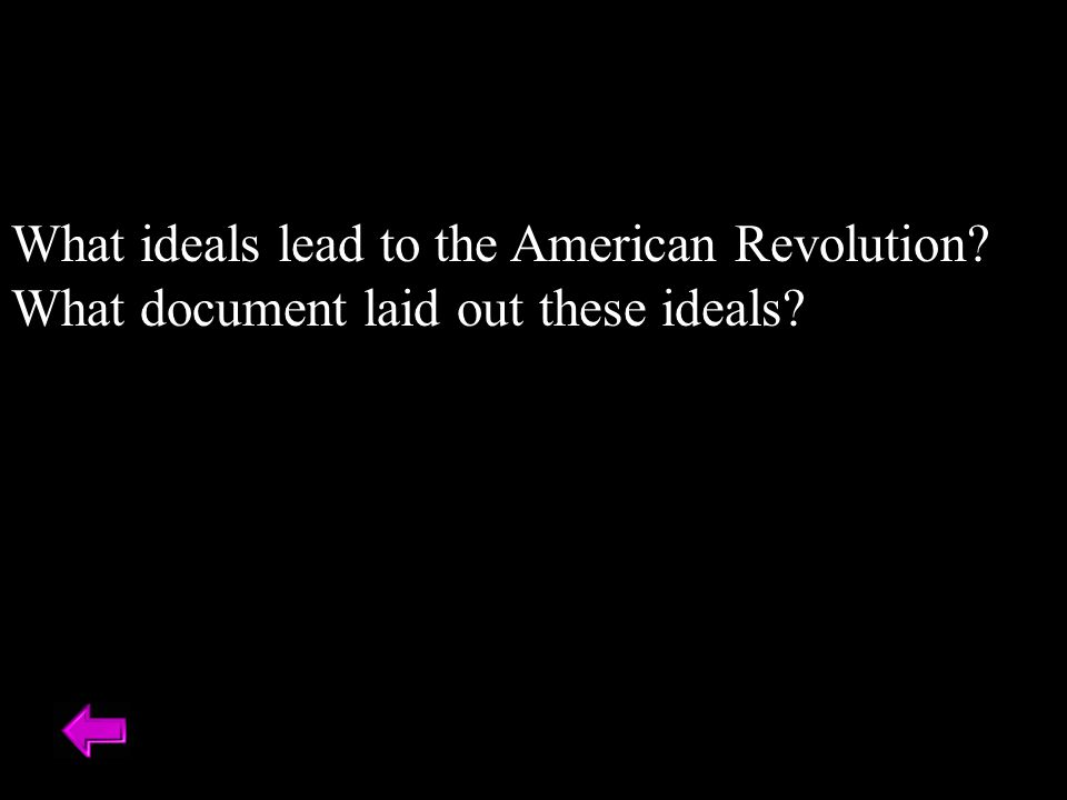 What ideals lead to the American Revolution What document laid out these ideals