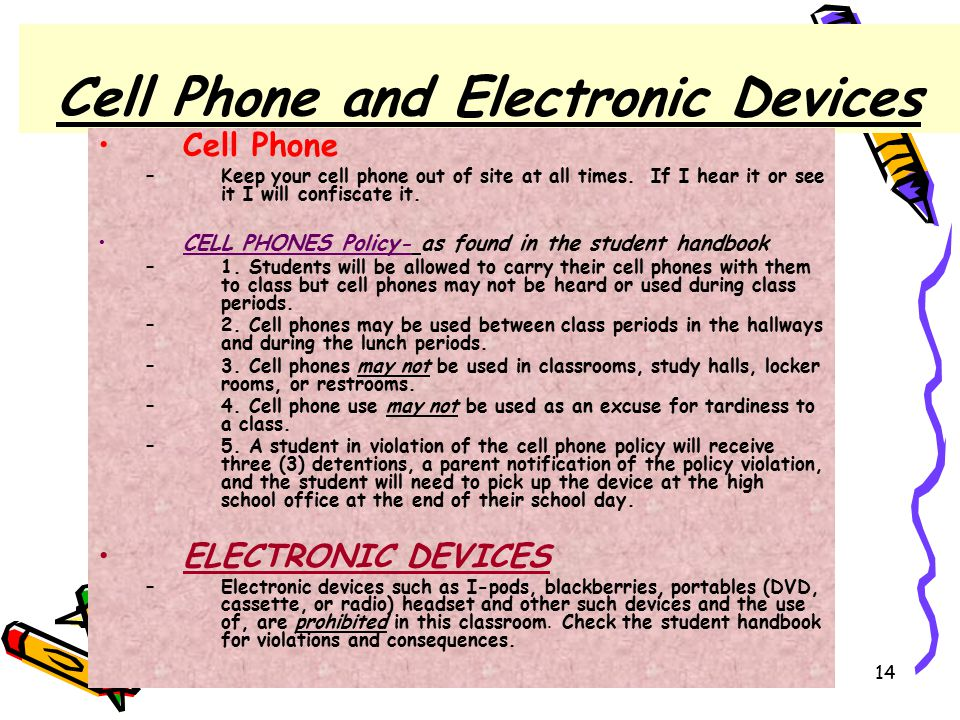 4/30/201514 Cell Phone and Electronic Devices Cell Phone –Keep your cell phone out of site at all times.