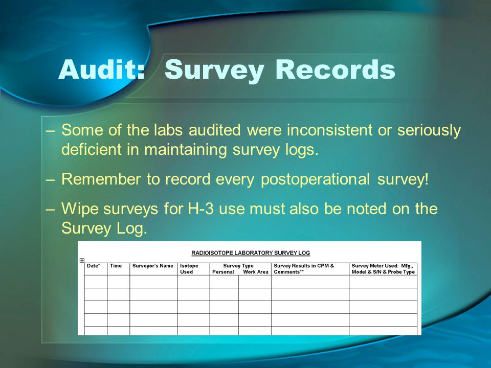 Audit: Survey Records –Some of the labs audited were inconsistent or seriously deficient in maintaining survey logs.