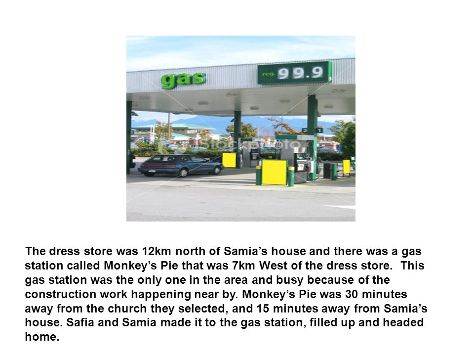 The dress store was 12km north of Samia's house and there was a gas station called Monkey's Pie that was 7km West of the dress store.