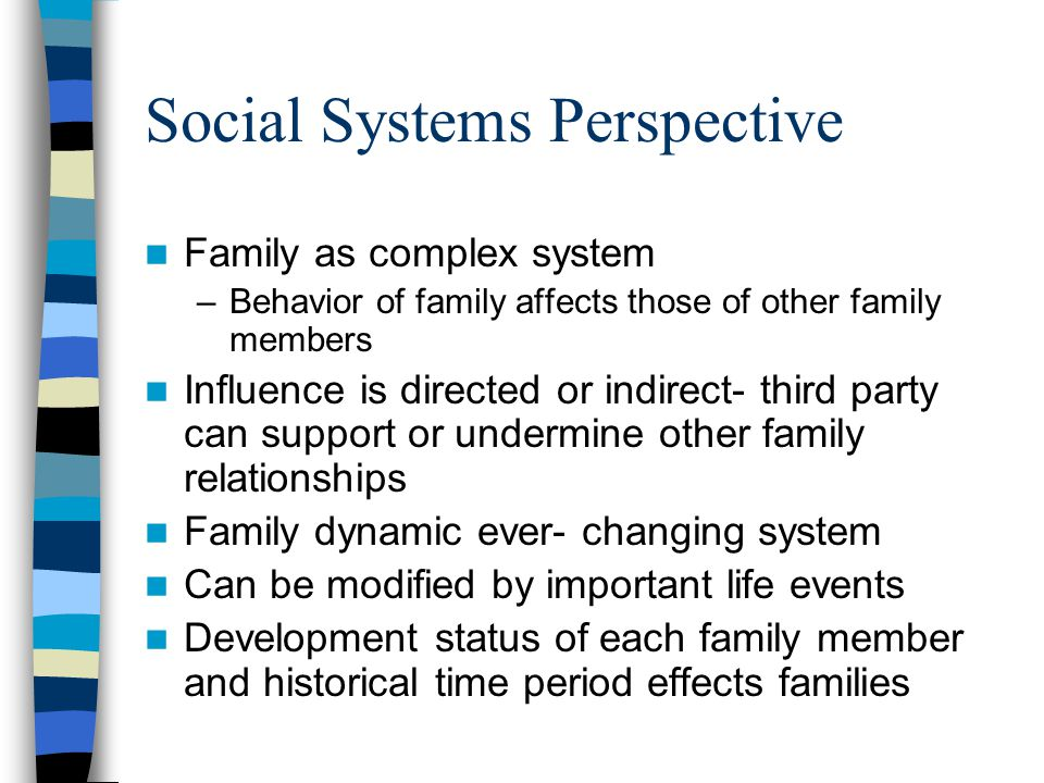 Social Systems Perspective Family as complex system –Behavior of family affects those of other family members Influence is directed or indirect- third party can support or undermine other family relationships Family dynamic ever- changing system Can be modified by important life events Development status of each family member and historical time period effects families