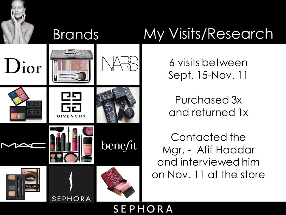 Brands My Visits/Research 6 visits between Sept. 15-Nov. 11 Purchased 3x and returned 1x Contacted the Mgr. - Afif Haddar and interviewed him on Nov.