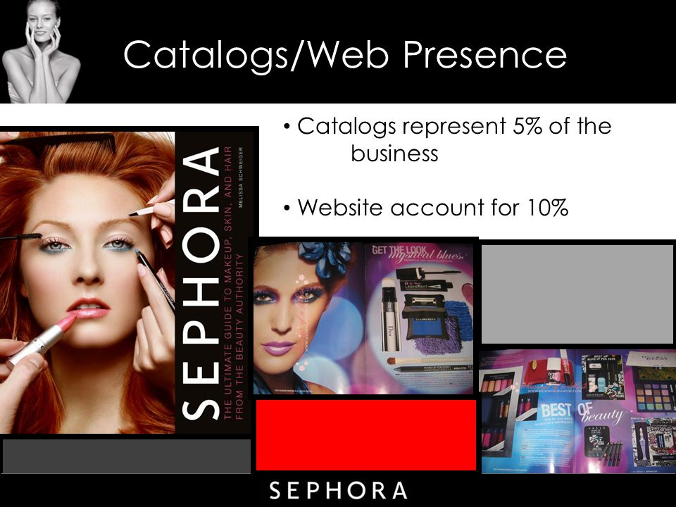 Catalogs/Web Presence Catalogs represent 5% of the business Website account for 10%