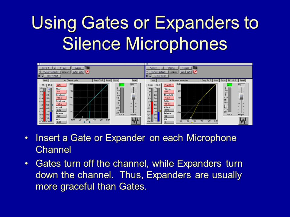 Using Gates or Expanders to Silence Microphones Insert a Gate or Expander on each Microphone Channel Gates turn off the channel, while Expanders turn down the channel.
