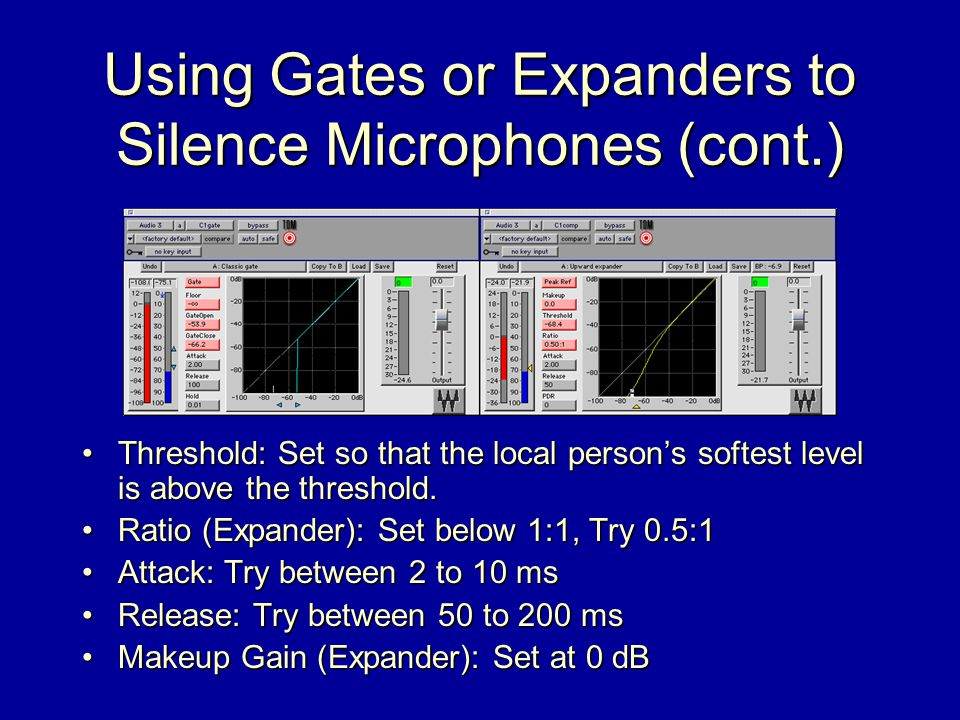 Using Gates or Expanders to Silence Microphones (cont.) Threshold: Set so that the local person's softest level is above the threshold.