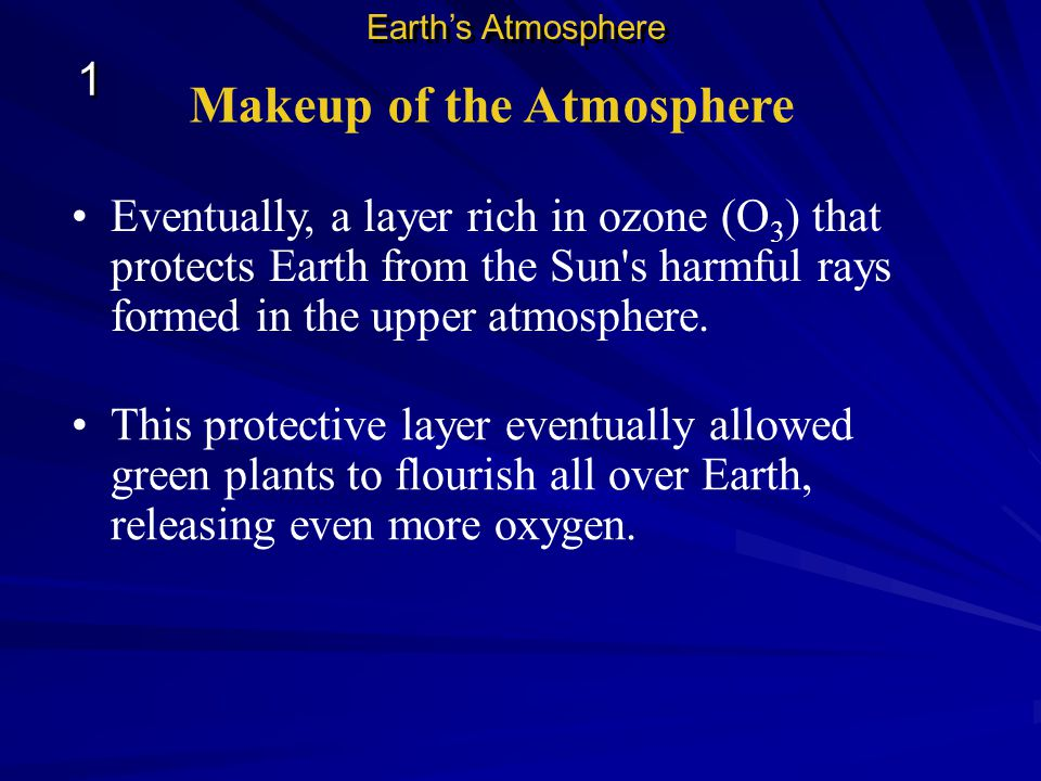 Makeup of the Atmosphere Earth s early atmosphere, produced by erupting volcanoes, contained nitrogen and carbon dioxide, but little oxygen.