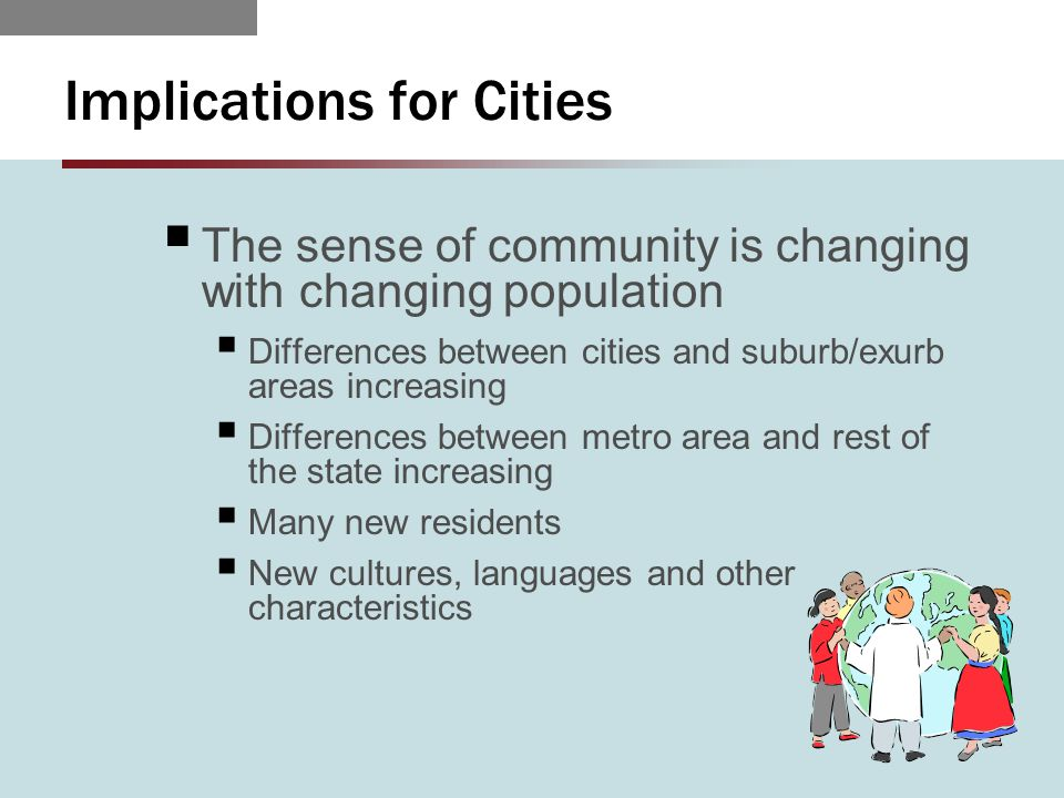 Implications for Cities  The sense of community is changing with changing population  Differences between cities and suburb/exurb areas increasing  Differences between metro area and rest of the state increasing  Many new residents  New cultures, languages and other characteristics