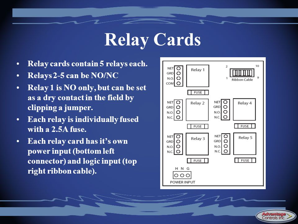 Relay Cards Relay cards contain 5 relays each.