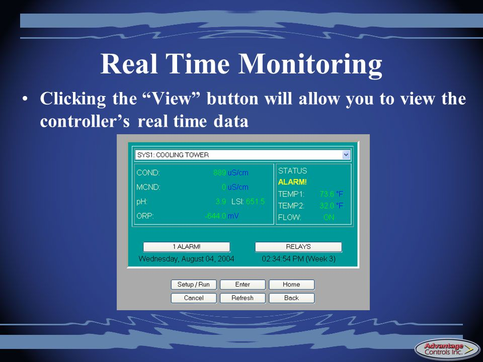 Real Time Monitoring Clicking the View button will allow you to view the controller's real time data