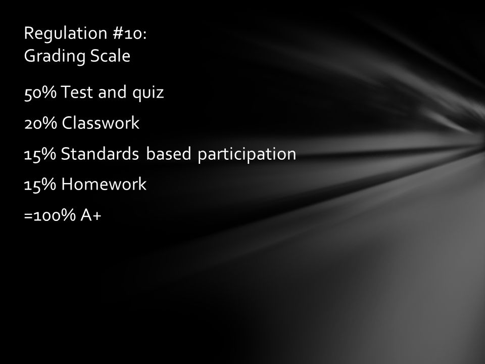 50% Test and quiz 20% Classwork 15% Standards based participation 15% Homework =100% A+ Regulation #10: Grading Scale