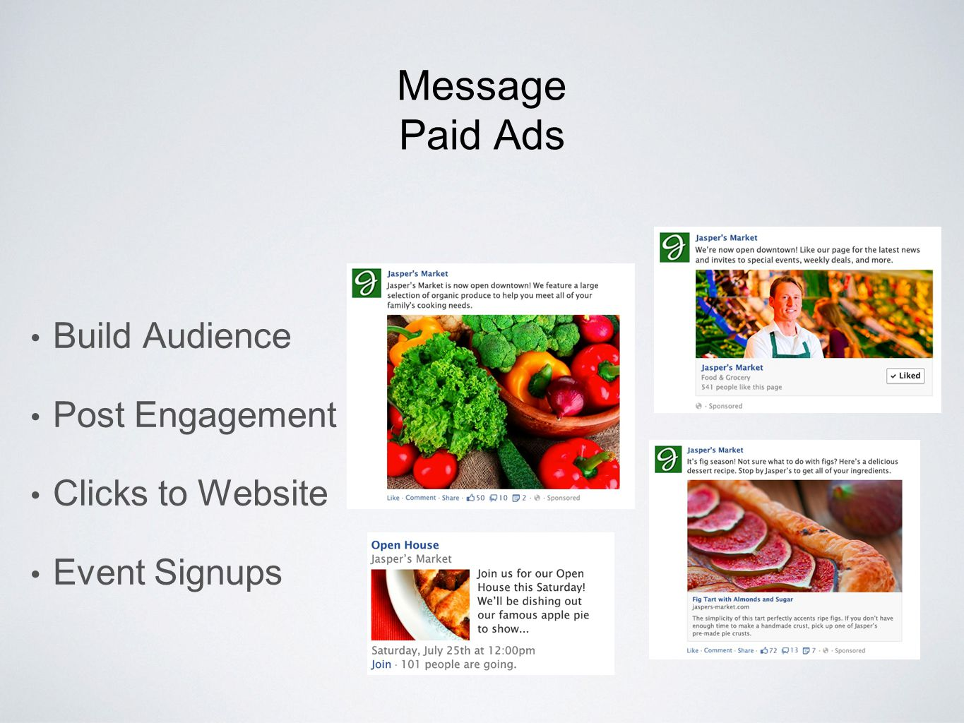 Message Paid Ads Build Audience Post Engagement Clicks to Website Event Signups