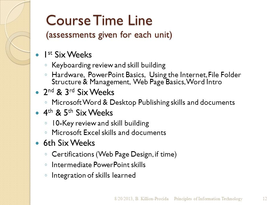 Course Time Line (assessments given for each unit) 1 st Six Weeks ◦ Keyboarding review and skill building ◦ Hardware, PowerPoint Basics, Using the Int