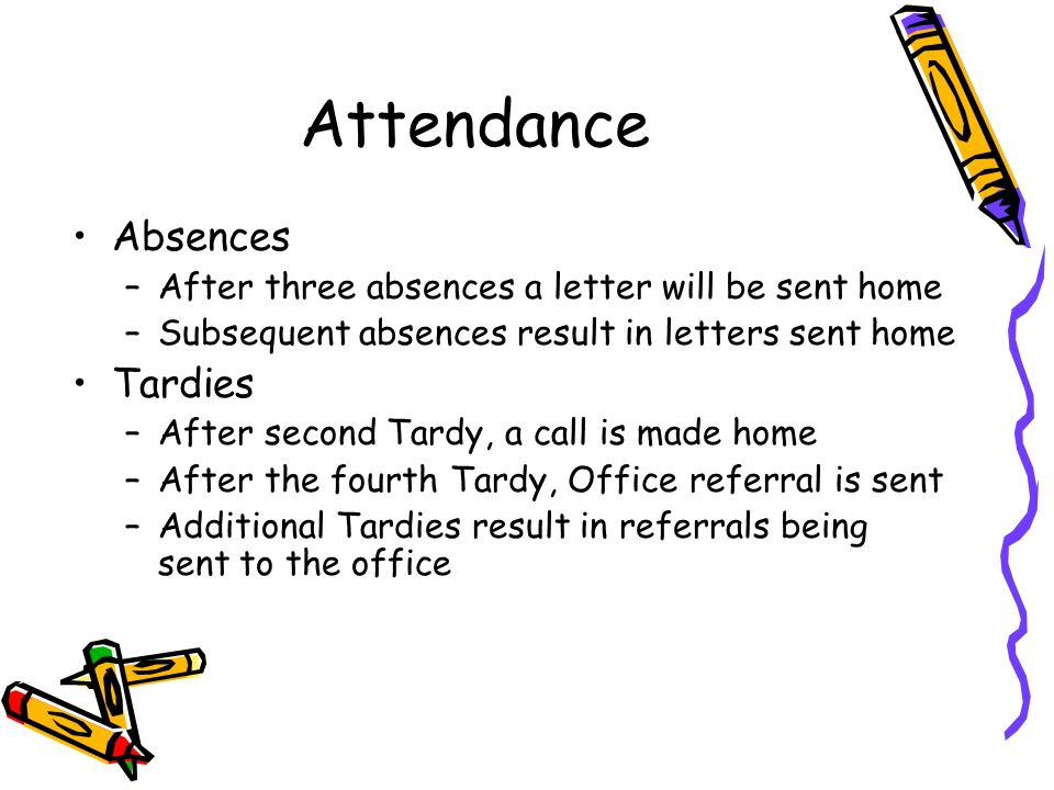 Attendance Absences –After three absences a letter will be sent home –Subsequent absences result in letters sent home Tardies –After second Tardy, a call is made home –After the fourth Tardy, Office referral is sent –Additional Tardies result in referrals being sent to the office