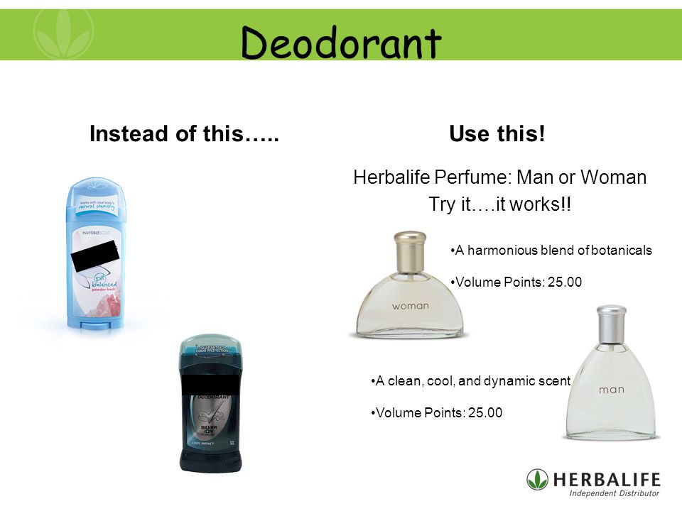 Deodorant Instead of this…..Use this. Herbalife Perfume: Man or Woman Try it….it works!.