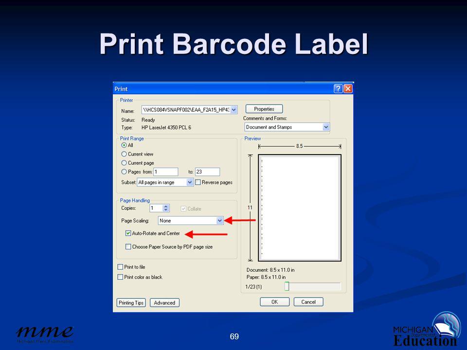 69 Print Barcode Label