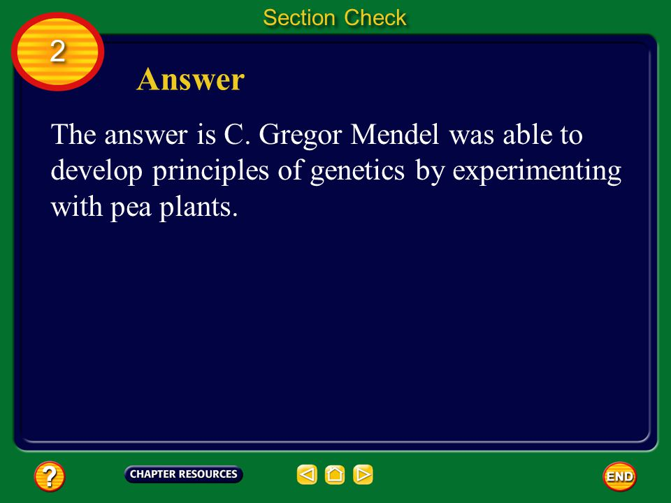 2 2 Section Check Question 2 Who was the first researcher to use numbers to describe the results of genetics experiments.