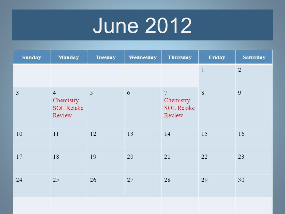 SundayMondayTuesdayWednesdayThursdayFridaySaturday 12 34 Chemistry SOL Retake Review 567 Chemistry SOL Retake Review 89 10111213141516 17181920212223 24252627282930 June 2012