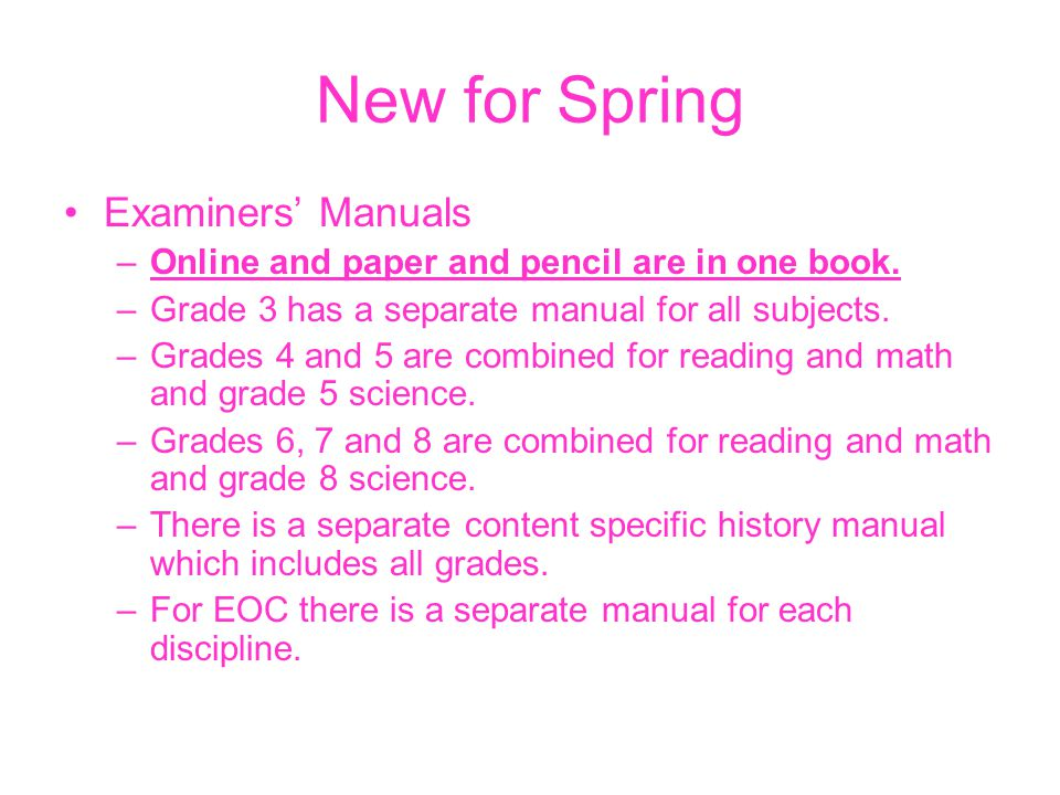 New for Spring Examiners' Manuals –Online and paper and pencil are in one book.