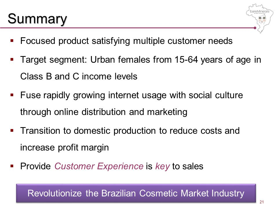 Summary  Focused product satisfying multiple customer needs  Target segment: Urban females from 15-64 years of age in Class B and C income levels  Fuse rapidly growing internet usage with social culture through online distribution and marketing  Transition to domestic production to reduce costs and increase profit margin  Provide Customer Experience is key to sales Revolutionize the Brazilian Cosmetic Market Industry 21