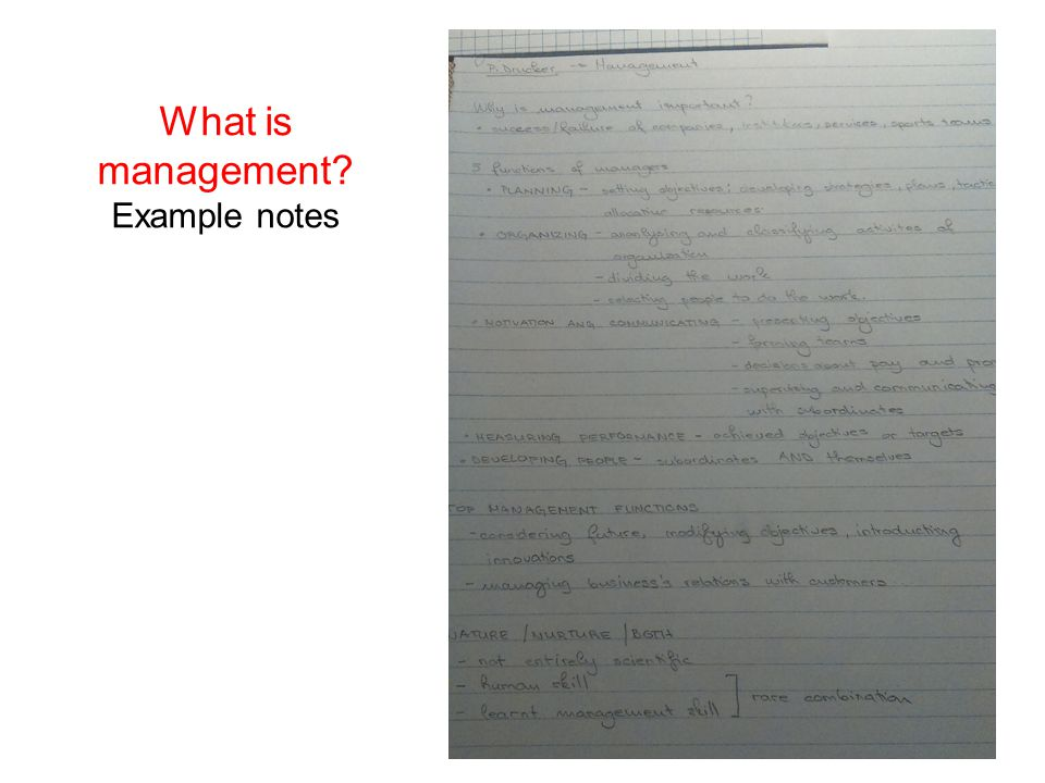 What is management? Example notes