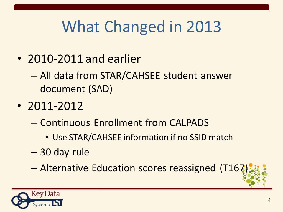 44 What Changed in 2013 2010-2011 and earlier – All data from STAR/CAHSEE student answer document (SAD) 2011-2012 – Continuous Enrollment from CALPADS Use STAR/CAHSEE information if no SSID match – 30 day rule – Alternative Education scores reassigned (T167)