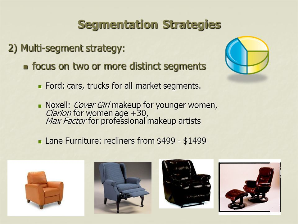 Segmentation Strategies 2) Multi-segment strategy: focus on two or more distinct segments focus on two or more distinct segments Ford: cars, trucks for all market segments.