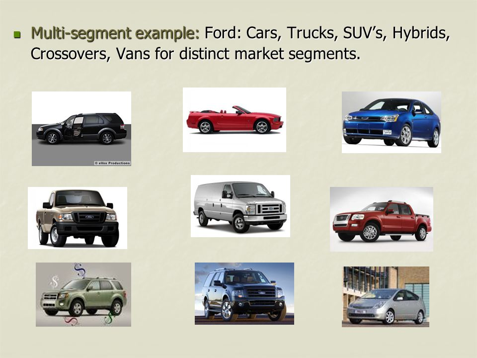 Multi-segment example: Ford: Cars, Trucks, SUV's, Hybrids, Crossovers, Vans for distinct market segments.